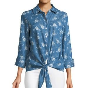 NWT Neiman Marcus Floral Chambray Tie Front Top